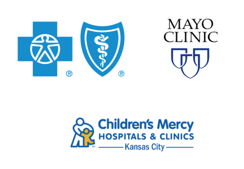 Mayo Clinic logo Childrens's Mercy Hospital logo Blue Sheild Blue Cross logo